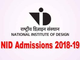 NID Admissions 2018-19 in B.Des., M.Des and GDPD programmes