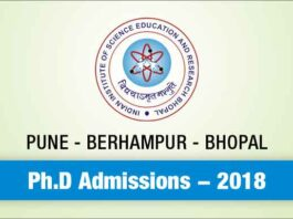 IISER PUNE Ph.D Admissions 2018