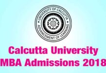 Calcutta University MBA Admissions July 2018