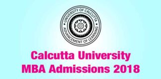 Calcutta University MBA Admissions July 2018
